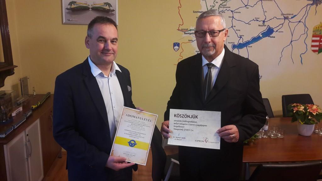 A Soproni Gyógyközpont Gyermekosztálya_GYSEV_dolgozói_adomány_kép